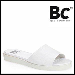 BC FOOTWEAR CROC EMBOSSED SLIP-ON MULES SANDALS